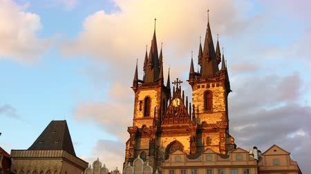 Cinemagraph animation of Cathedral of Our Lady before Tyn over cloudy sunset sky, Prague, Czech Republic, low angle view, 4K