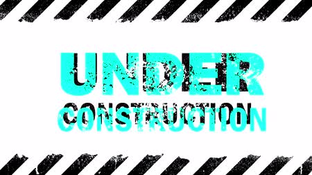 Black grunge painted stripes and under construction sign blinking animation with glitch over white background Vídeos