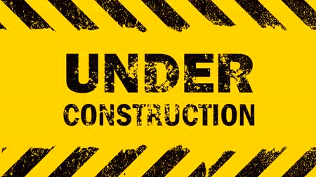 Yellow background with painted distressed black grunge stripes and under construction sign blinking animation with glitch