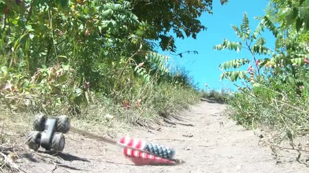 allegiance : Toy car is set on trail atop a hill with american flag wedged into and ironically crashes shortly thereafter, blue sky backdrop in sunlight.  Stock Footage