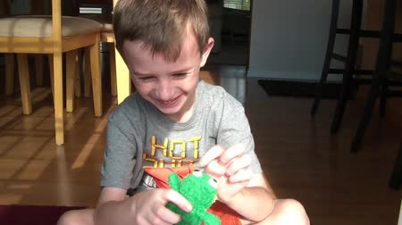 ropucha : Young boy smiling, playing with small stuffed animal frog, touching his eyes, kissing, and then eventually hugging it. Dostupné videozáznamy