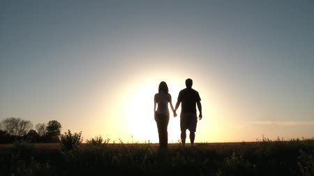 estético : Couple walks into sun up hill and then stops to take in romantic scenery, put arms around each other, and then talk.