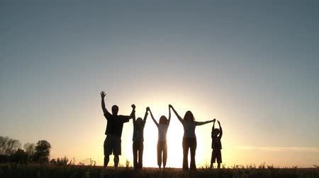 miłość : Group of five people holds hands, and then raises arms in unity backlit by large sunset in background, on a hill in summer.