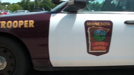 panned : Panning from left to right a Minnesota state trooper vehicle in North Dakota