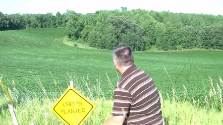 вводить : Man pounds down yellow crops planted sign down into ground while field below blows beautifully in the wind. Стоковые видеозаписи