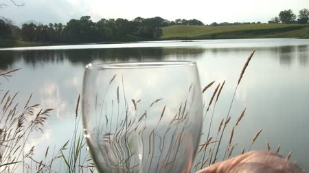 исцелять : Audible toast before shot of white wine being poured into glass with lovely lake and angled sun in background.