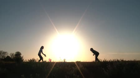солнечный : Two girls play catch on either side of large sun that is setting on horizon, atop a small hill with pink ball, and a blue sky horizon.