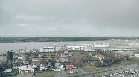 klaipeda : Klaipeda, Lithuania. Seaport, the Curonian Spit and the Baltic Sea. Panoramic Aerial View on a Rainy Day.