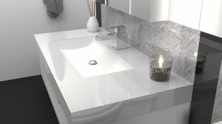 lavatório : animation of modern bathroom with black and white granite stone