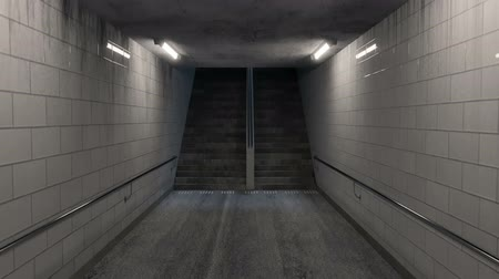 tunel : animation of darken underpass with lights and stairs at the end at night