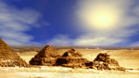 paisagem : Giza Pyramids over sunny sky background (seamless loop) Stock Footage
