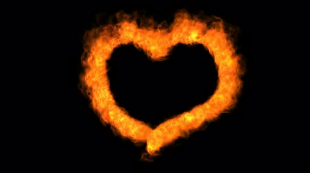 альфа : Loopable fire love heart animation with alpha channel appended Стоковые видеозаписи