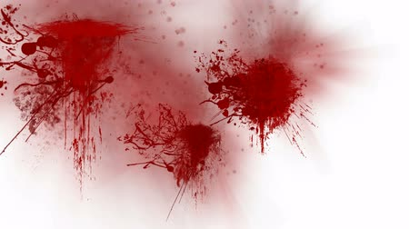 bloodshed : Blood splatters over white background Stock Footage