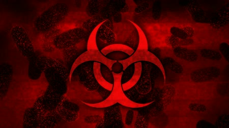 baktériumok : Biohazard symbol and bacteria on damaged red display