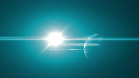 atmosphere : Computer generated fly into Earth from outer space. The sun flares the camera as we dive into the dark side of the planet. Stock Footage