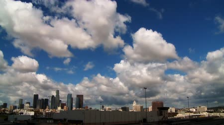 us bank tower : Time lapse clouds over downtown LA
