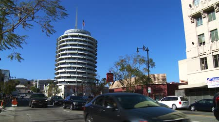 no traffic : Looking North on Vine Street above Hollywood Boulevard at the Capitol Records building.