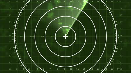 radars : Enlarged loop of a radar screen displaying clouds and a bar refreshing as it decays. There is static interference in the radar signal causing some noise in the image. Stock Footage