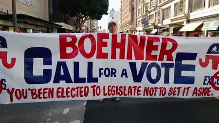 illegal alien : Boehner Call for a Vote Banner. During an immigration rally in downtown Los Angeles on September 22 2013 some protesters carry a banner that reads BOEHNER CALL FOR A VOTE: Youve been elected to legislate not to set it aside. Referring to Republican S