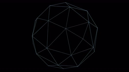 aberration : Retro 3D Vector Poly Ball. Wireframe of a rotating polygon ball with holographic flicker and chromatic aberration for screen replacements and simulation. Stock Footage