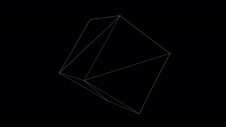 aberration : Retro 3D Vector Cube Rotation. Wireframe of a rotating cube with holographic flicker and chromatic aberration for screen replacements and simulation.