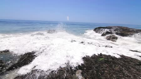 kullancs : Surfs Up Malibu, Quick Pan. Quick camera pan as waves crash onto barnacle covered rocks, spewing ocean water into the air and flooding the rocks below.