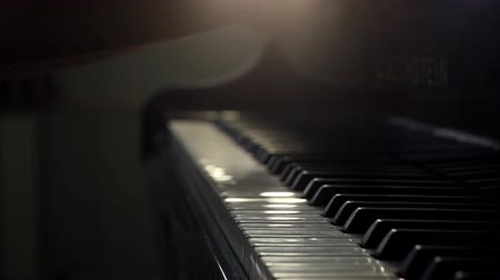 akusztikus : Girl pianists two hand opens the grand piano and starts playing gentle classical music close up in slow motion. Piano keys close up in dark colors