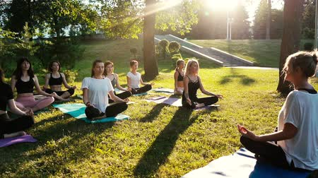 отступление : Group of mixed age women is practicing yoga and meditating morning in park while sunrise. Group of people is sitting outdoors in lotus pose on grass with eyes closed. Tracking shot in slow motion