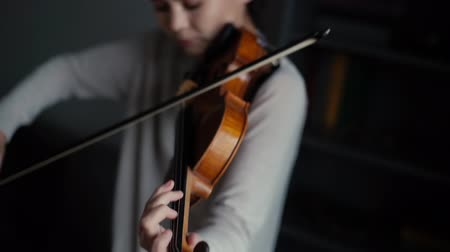 cselló : Beautiful woman musician plays the violin in her home, close- up in slow motion. Female s face is not visible. Stock mozgókép