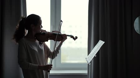 podfuk : Beautiful young woman violinist plays the violin at home by the window in slow motion. Girl musician looks at the score.