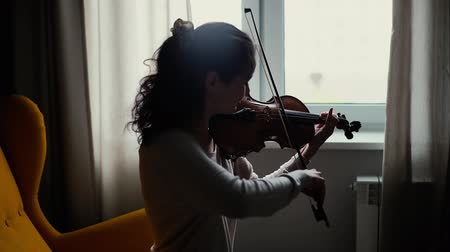 cselló : Beautiful young woman musician playing the violin by the window, sitting on soft chair in room with a modern interior. Girl is practicing playing musical instrument at home.