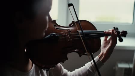 podfuk : Beautiful girl plays the violin by the window in slow motion Lovely young woman is practicing playing musical instrument at home.