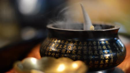 incenso : Incense in burning with chinese chanting sound