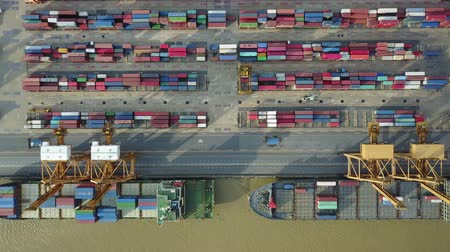 obchody : 4K Aerial view of industrial port