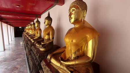 wat pho : Buddha in Wat Pho Temple in Bangkok, Thailand Stock Footage