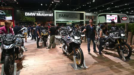 booth : Bangkok, Thailand - December 3, 2018 : BMW motorcycles on display at the 35th Thailand International Motor Expo 2018 at the Impact Center