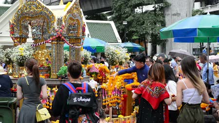 symbol of respect : Bangkok, Thailand - November 2, 2018 : Foreigners and local people visit at worship Erawan Shrine