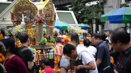 symbol of respect : Bangkok, Thailand - November 2, 2018 : People and tourist visit at worship Erawan Shrine