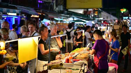 Bangkok, Thailand - June 9, 2019 : Khaosan Road street vendor sell barbecue street food