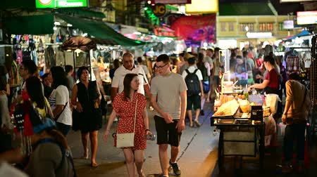 Bangkok, Thailand - June 9, 2019 : Tourists visited at Khao San Road night market