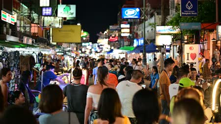 Bangkok, Thailand - June 9, 2019 : Tourist walking night tour at Khao San Road