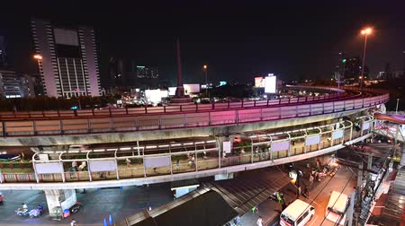 Bangkok, Thailand - October 2, 2019 : Sky train moving from the victory monument station Vídeos