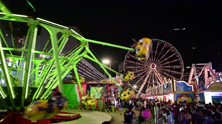 Bangkok, Thailand - November 24, 2019 : Carousel flying bee in night amusement park Vídeos