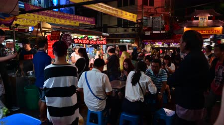 Bangkok, Thailand - December 11, 2019 : People dinner Thai street food at Chinatown, Bangkok