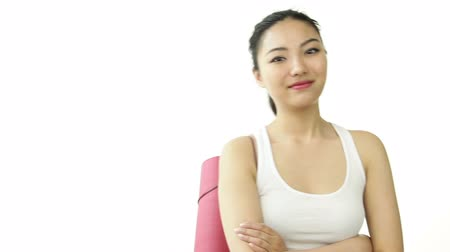 isolar : asian 20 years old girl isolated on a white background Stock Footage