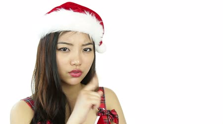 czerwone tło : asian 20 years old girl isolated on a white background Wideo