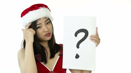 kürk : asian 20 years old girl isolated on a white background Stok Video