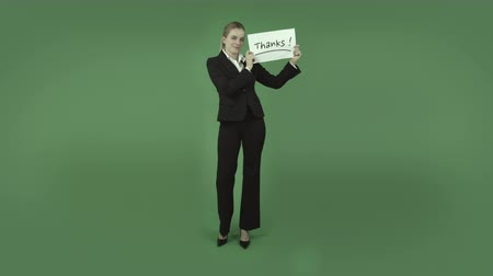 ação de graças : attractive caucasian business woman isolated on chroma green background