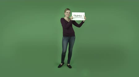 ação de graças : attractive caucasian girl isolated on chroma green background