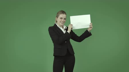 jel : attractive caucasian business woman isolated on chroma green background